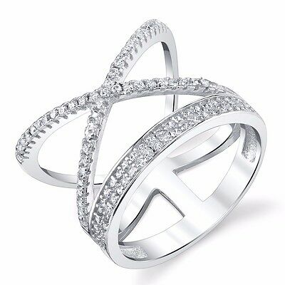Women 925 Sterling Silver Criss Cross X Ring with CZ Fun Everyday Ring For Her