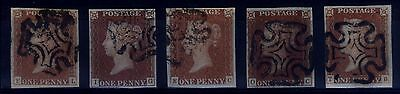 Great Britain 1840's 1d Penny Red Varieties - (Lot 1) - V/F