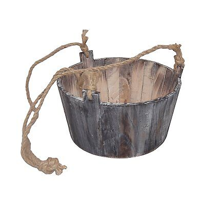 Cheung's FP-3693 Round Wooden Hanging Planter