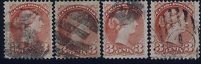 """Canada 3 cents Small Queens  - """"KISS PRINTS"""" Varieties - Fine/Very Fine"""