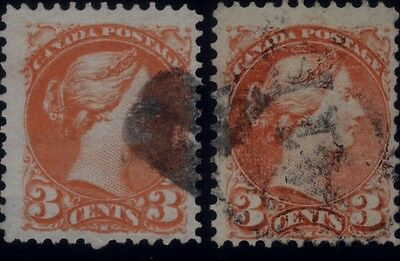 """Canada 3 cents Small Queens - Re-Entry - """"Spurs"""" - Scott #37 & #41 - Fine/Fine+"""