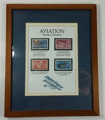 """Aviation Stamp Collection Framed Matted 9"""" x 11"""" Four Air Mail Stamps"""