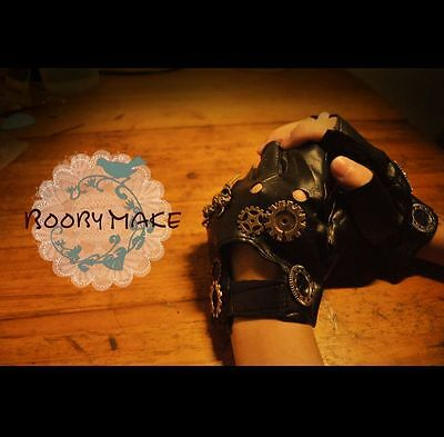 Punk Steampunk Gloves Retro PU Leather Gear Cos Prop Daily