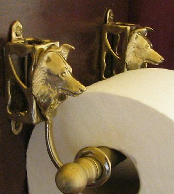 SHELTIE, SHETLAND SHEEPDOG Bronze Toilet Paper Holder OR Paper Towel Holder!