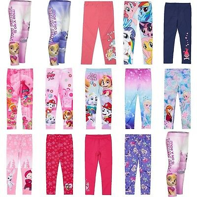 Girls Licensed My Little Pony Paw Patrol Trolls Leggings Pants Age 2-12