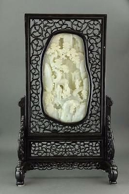 Chinese Fine White Jade Carved Screen