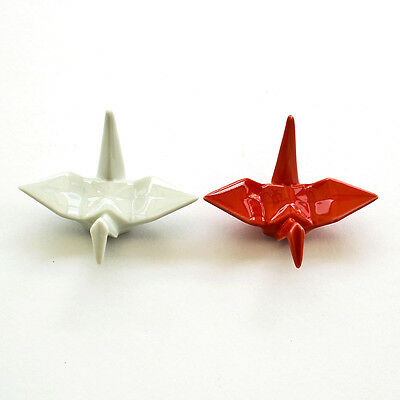 Pair of Red and White Origami Crane inspired Chopstick Rest Made in Japan
