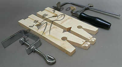 Set of Jewelers Bench Pin & Clamp With Ring Cutting Jig+ Saw Frame & 12 Blades