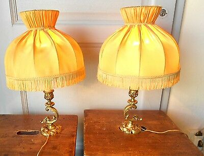 PAIR Antique French Bronze  Bedside Lights Lamps w/ yellow shades