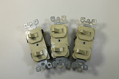 *Bulk* (3) Leviton Dual Rocker Switches in Ivory