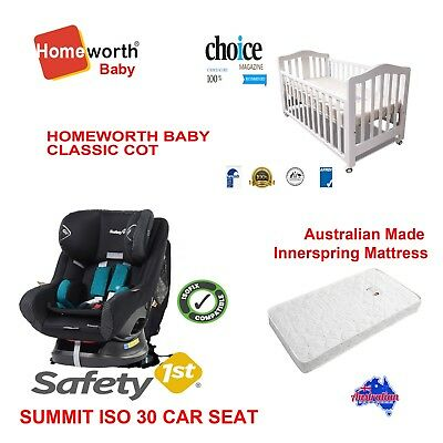 SAFETY 1ST SUMMIT CAR SEAT CLASSIC COT BABY BED INNERSPRING MATTRESS package