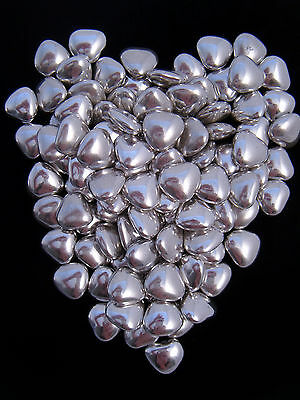 200 Silver Heart Shaped Wedding Favour Sweets Dragees