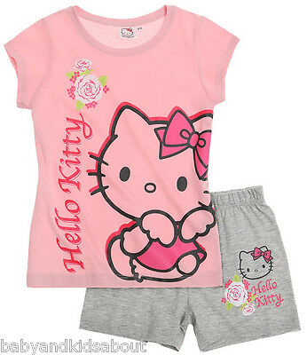 Girls Hello Kitty Short Sleeve Pyjamas Set Age 3,4,6,8 BNWT; 3 Designs