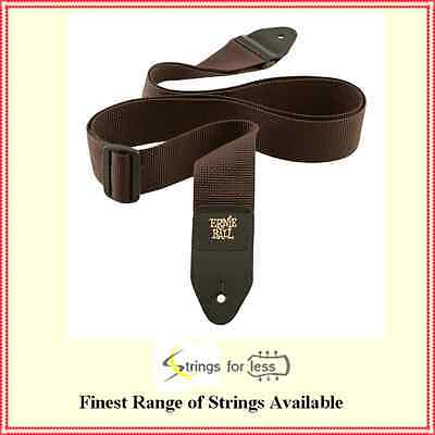 Ernie Ball 4052 Polypro Guitar Strap Leather Ends Brown  Adjustable Super Long
