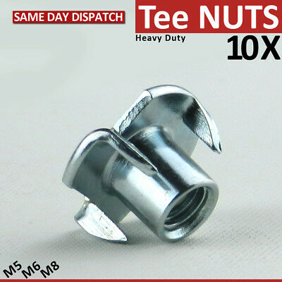 10 Tee Nuts Four Pronged T-Nut Captive Sizes Heavy Duty M6/M8/M10 Heavy Duty