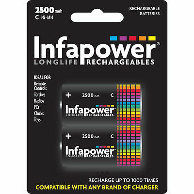 2 Pack size Infapower B005 Rechargeable C Ni-MH Batteries Cell 2500mAh Capacity