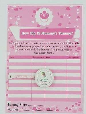 How Big Is Mummy's Tummy ? Baby Shower 24 Player Game Tape measure BABY GIRL