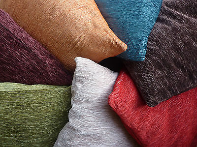 Plain Chenille Cushion Cover red cream chocolate brown olive green teal blue