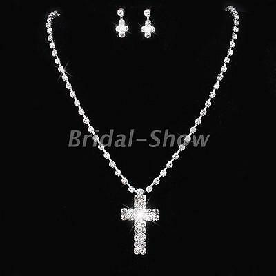 Prom Wedding Cross Design Diamante Crystal Necklace Earrings Bridal Jewelry Set