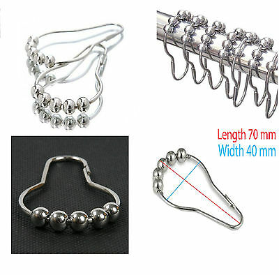 Chrome Plated Metal Ball Bead Easy Glide Gliders Shower Curtain Ring Hooks New