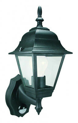 Byron 4 Panel Outdoor Security Wall Lantern Lamp Light with PIR - 100W - Black