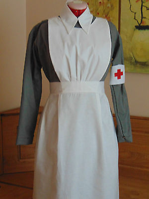Uniform Costume Vintage Ww1 Ww2 Vad Nurse  Inspired Complete Costume Grey White