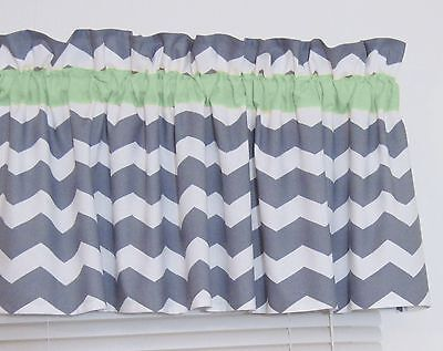 Mint Green & Gray Chevron Window Valance Zig Zag Bath Bedroom Nursery FREE SHIP