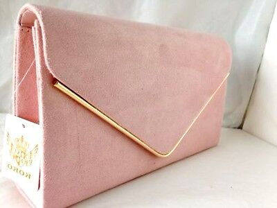 New Pale Powder Pink Faux Suede Evening Day Clutch Bag Wedding Club Party Prom