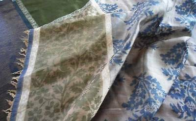Antique Silk Damask Tablecloth Fabric for Quilts Crafts Blue Green Cutter