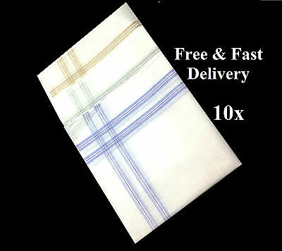 "10 Pack Men Handkerchiefs 100% Cotton Super Soft & Washable 37cm/14½"" Square 002"