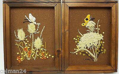 "Butterfly Crewel Embroidery Set 2 Framed Finished Brown Wildflowers 8"" Fuzzy 3D"