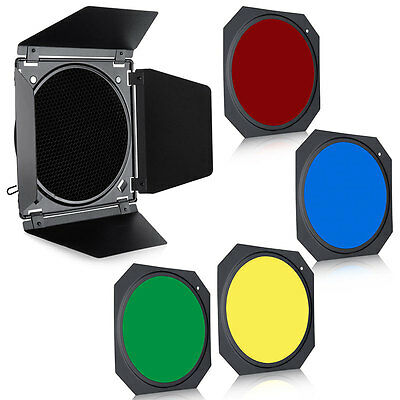 Neewer Universal Studio Strobe Barn Door & Honeycomb Grid & 4 Color Filter USA