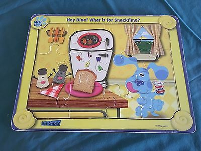 1998 Viacom Blues Clues Wooden Puzzle What Is For Snack time? Rare VG Condition