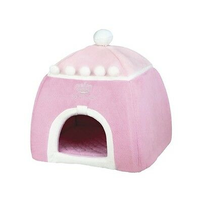 Cuddly Bed Cave House with Pink Princess Design for Cat & Small Dogs