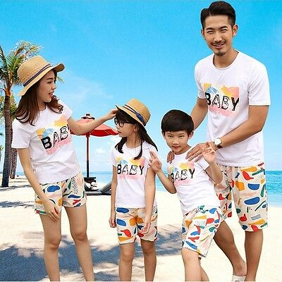 New summer family look clothing sets Fashion BABY Mom daughter Dad Son Outfits