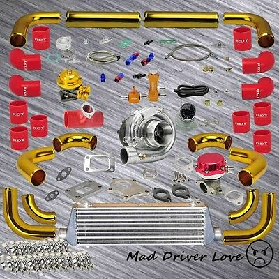 "GOLD 12x UNIVERSAL DIY 2.5"" PIPING T3/T4 .63A/R TURBO KIT RED 1.6-2.5L I4 ENGINE"