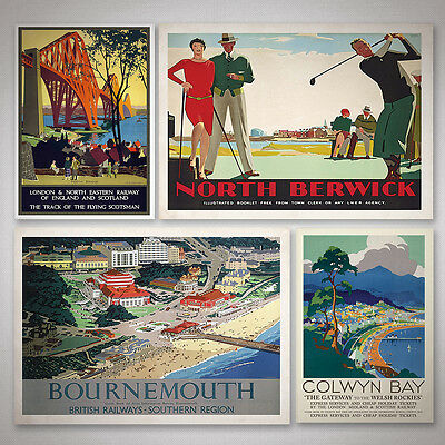 Vintage UK Railway Posters - UK Counties Travel Posters A5, A4, A3, A2, A1