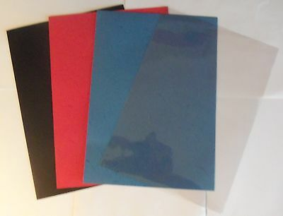 Leather Grain Carded Covers for Slider/Comb Bindings Red,Black,Blue or PVC Clear