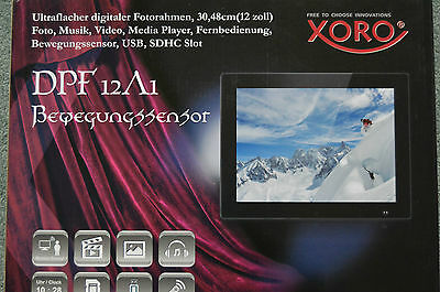 "Xoro Digitaler Bilderrahmen 30,4 cm (12"") Media Player Video USB Bewegungssensor"