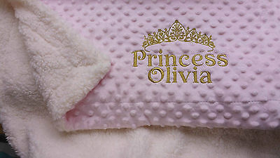 Luxury Thick Sherpa Pink / White Dimple Personalised Embroidered Baby Blanket