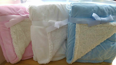 Super Thick Blue Pink / White Pattern Personalised Embroidered Baby Blanket