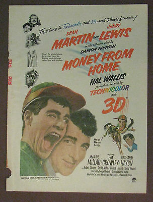 """Money From Home"" Vintage Magazine Photo Rare 1950's Dean Martin and Jerry Lewis"