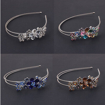 beautiful sparkling flower rhinestone crystal metal silver tone headband 1