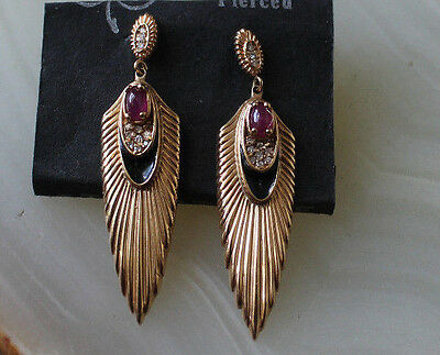 Rare Gorgeous Vintage 14K Gold & Ruby Art Deco Earrings By Erte-Only 100 Made!