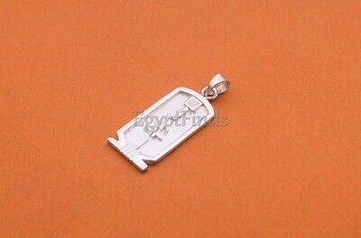 Egyptian Handmade Personalized Sterling Silver Cartouche With Ankh On The Back