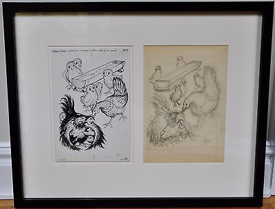 """GARTH WILLIAMS~ORIGINAL FRAMED FINAL PEN AND INK ~ FLOSSIE AND BOSSIE"""", Pg. 69"""