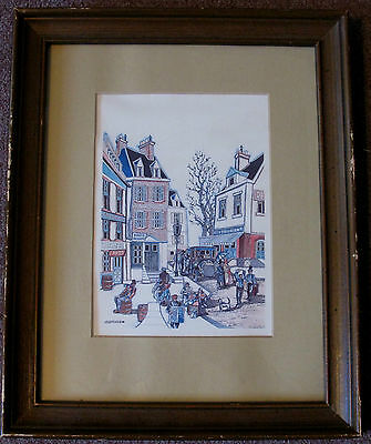 Vintage Watercolor Print Of Old Montreal Matted & Print Signed By J. Dumas