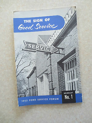 1952 Ford Customer service guide booklet - Ford Service Forum