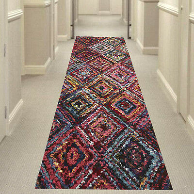 MULTI-COLOURED 503-DAIMOND HALL RUNNER Hallway Carpet Rug NEW 80x400cm
