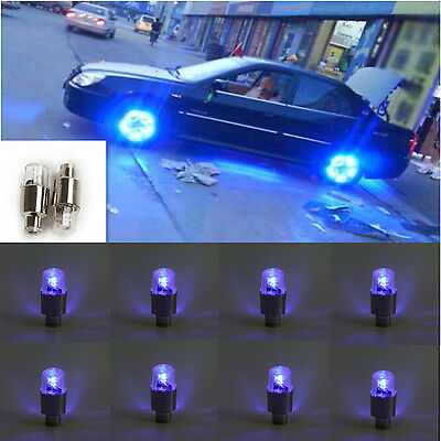 8x Blue LED Auto Car Wheel Tyre Tire Valve Stem Cap Light Lamp Bulb Shock Sense